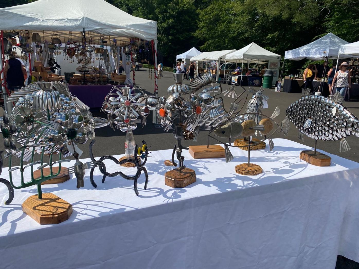sculptures of metal