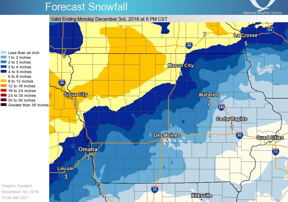 3 5 Inches Of Snow Freezing Rain Expected Saturday In Ne Iowa
