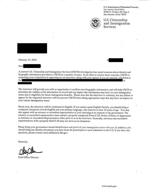 Letter: USCIS mailer to Burmese refugees