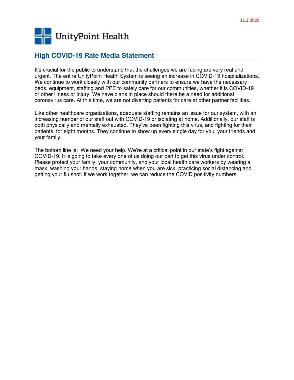 UnityPoint statement on pandemic, Nov. 2, 2020