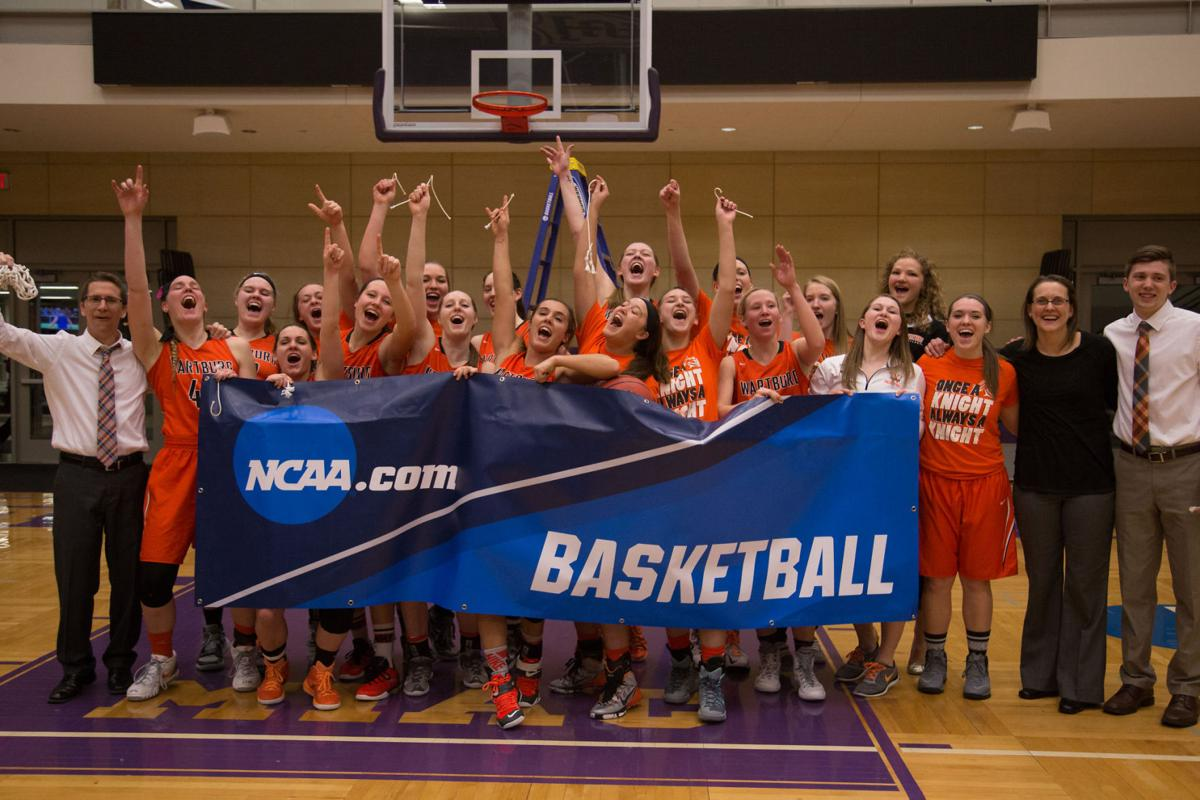 Wartburg basketball celebration