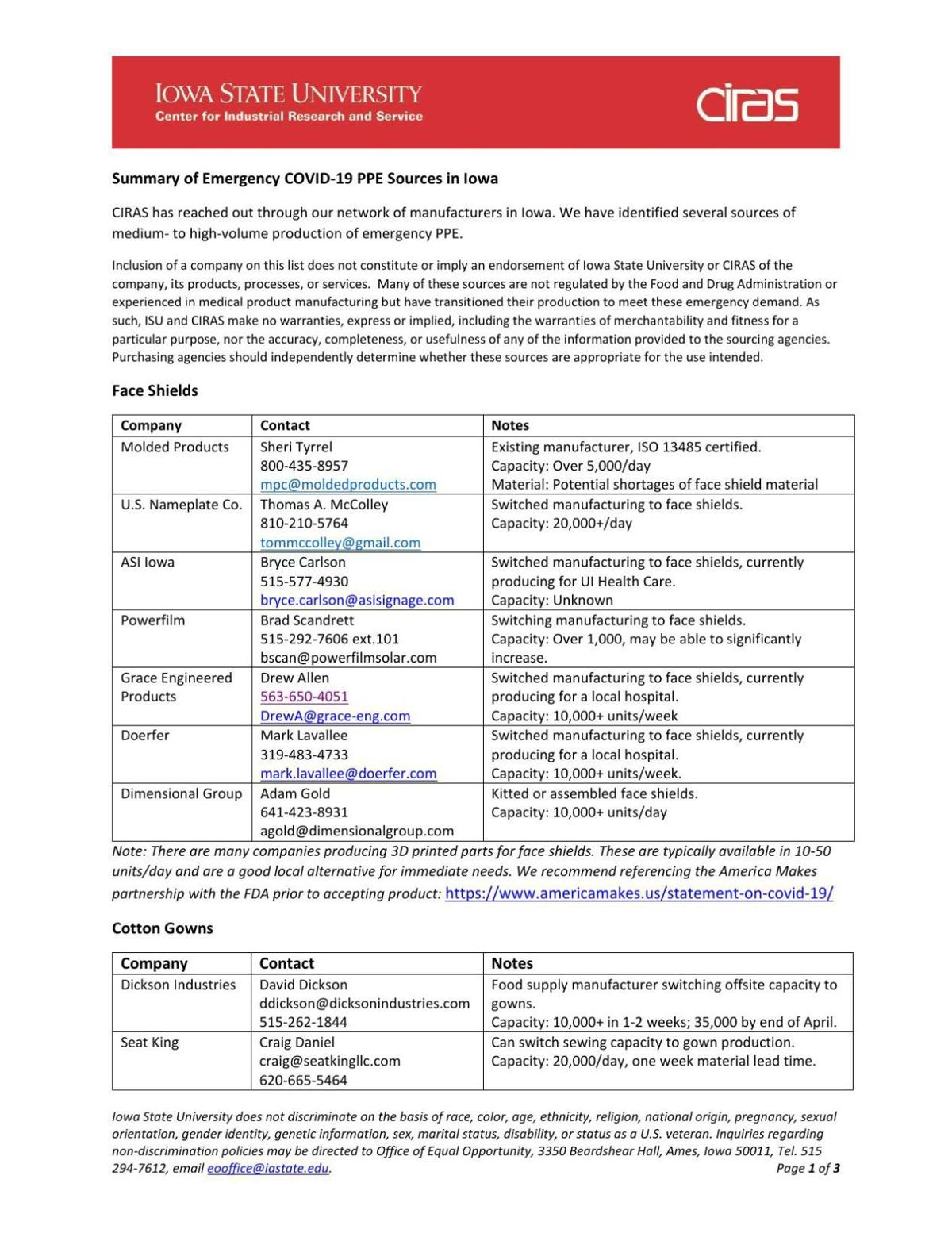 Summary of Emergency COVID-19 PPE Sources in Iowa