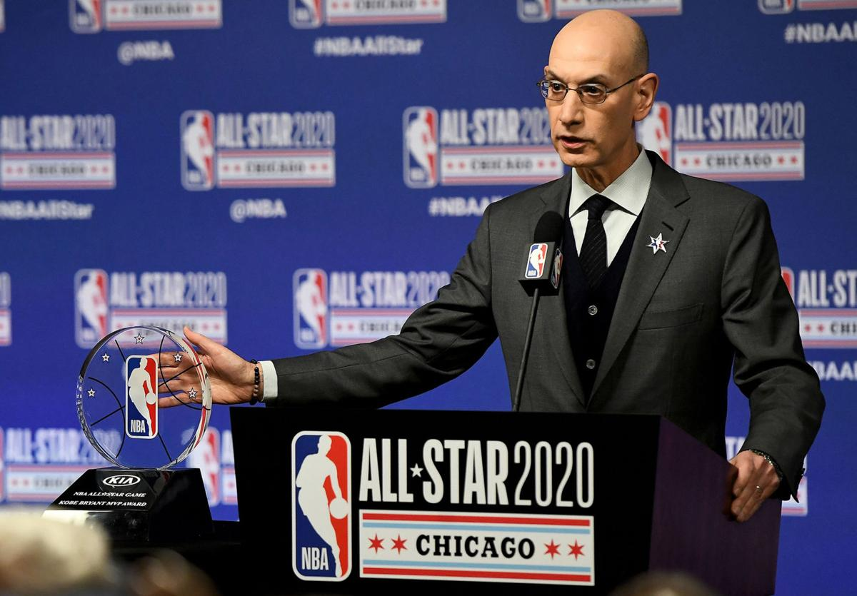 NBA Commissioner Adam Silver speaks to the media during a news conference at the United Center in Chicago on Saturday, Feb. 15, 2020.