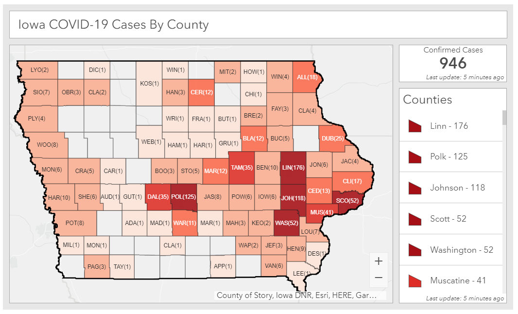 Total coronavirus cases in Iowa as of April 6, 2020