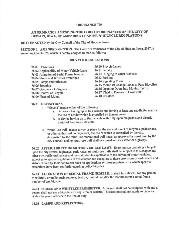 PDF: Hudson bicycle ordinance
