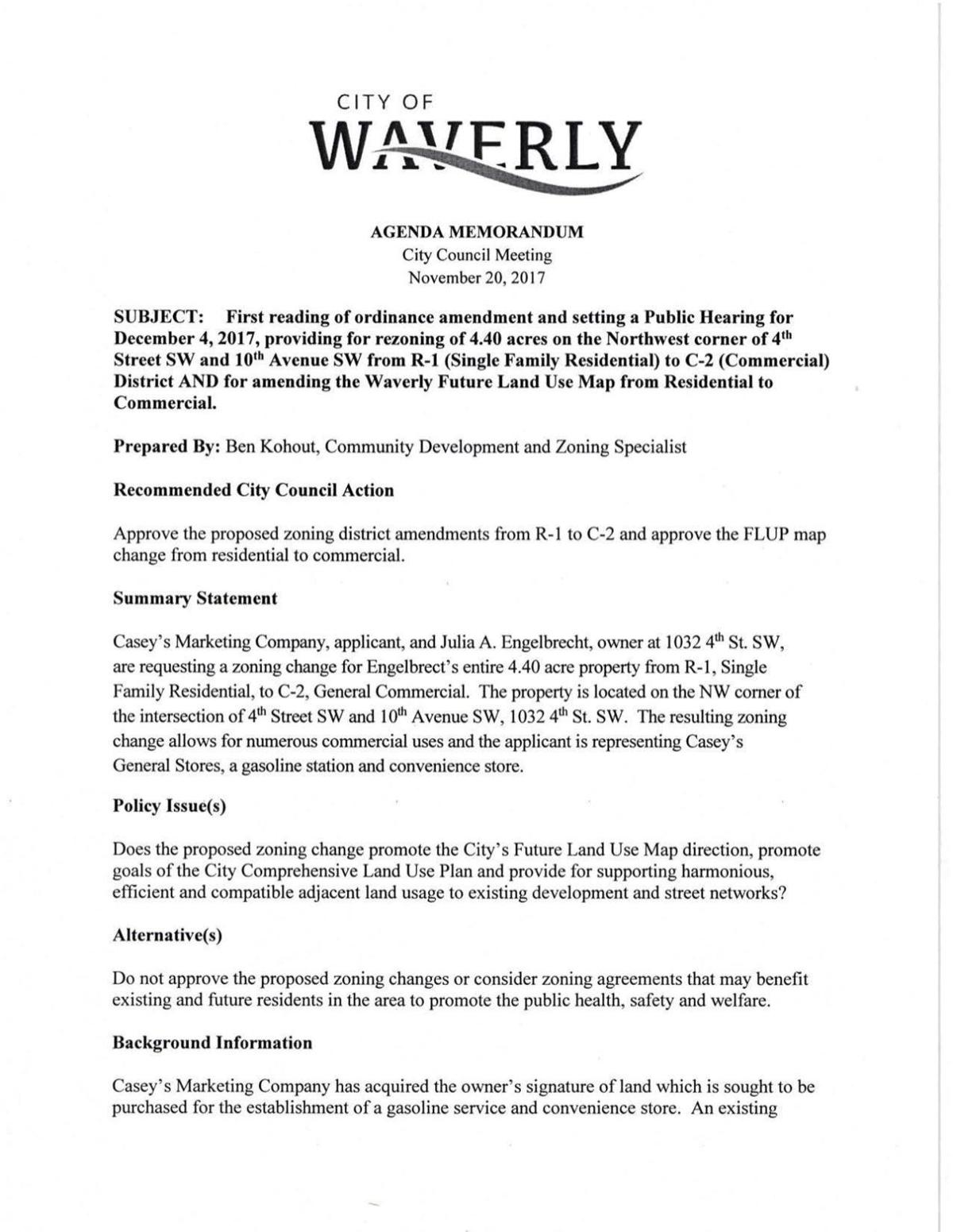 Ordinance regarding new zoning for proposed Casey's in Waverly