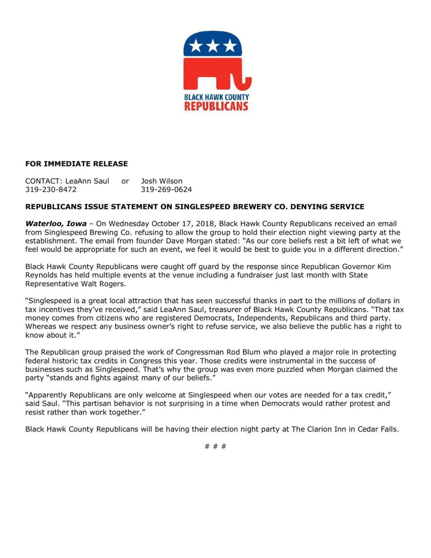 Press release: Republicans of Black Hawk County on SingleSpeed denial