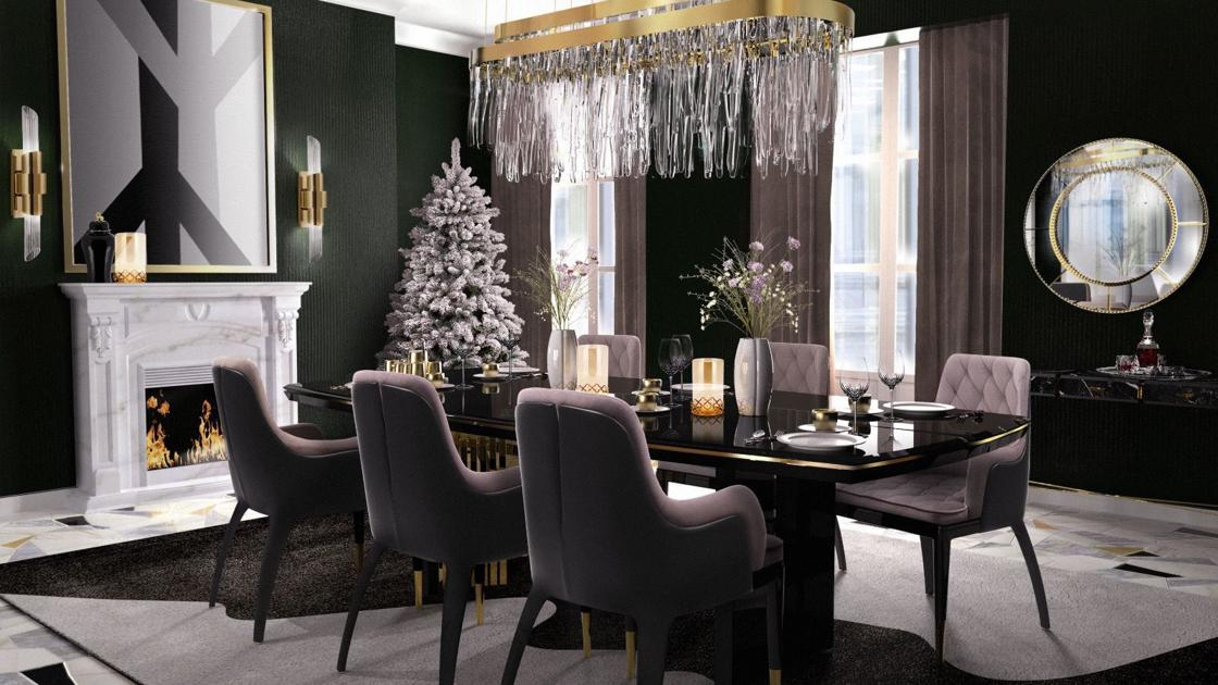 Dark Wood Finish Modern Dining Room W Optional Items: The Modern Dining Room