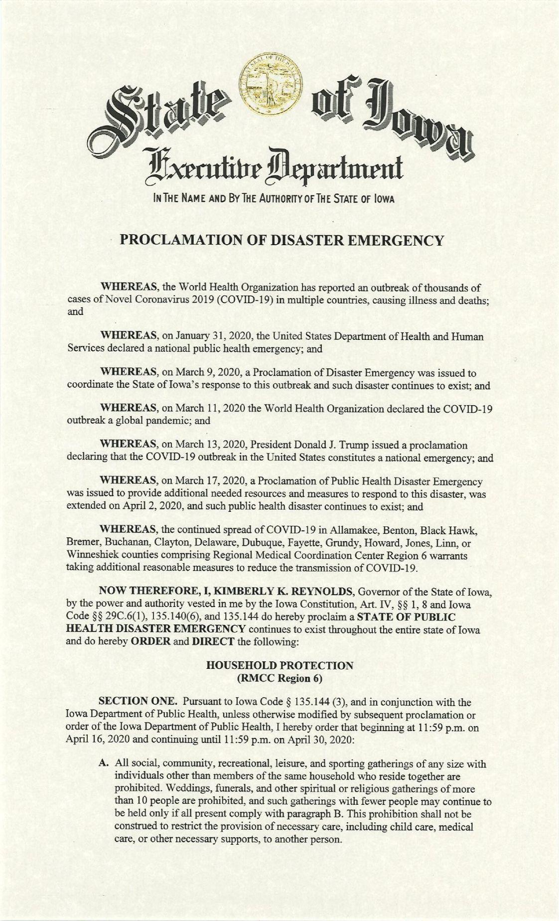 READ: Gov. Reynolds emergency proclamation for Region 6 (Apr. 16, 2020)