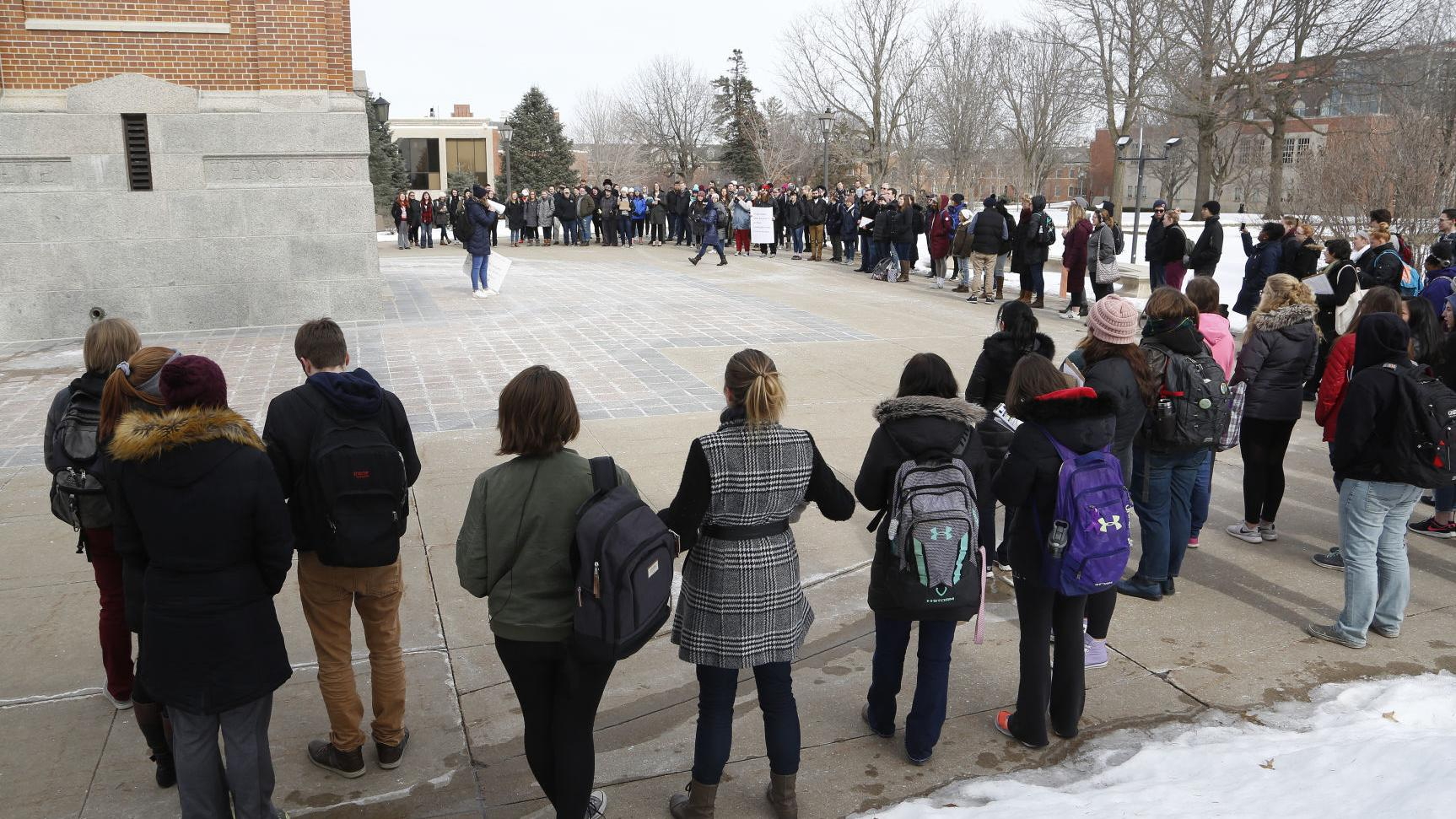 UPDATE: Many UNI students walk out of class, rally against gun violence