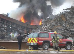 PHOTOS and VIDEO: Crews battling fire at Waterloo recycling business