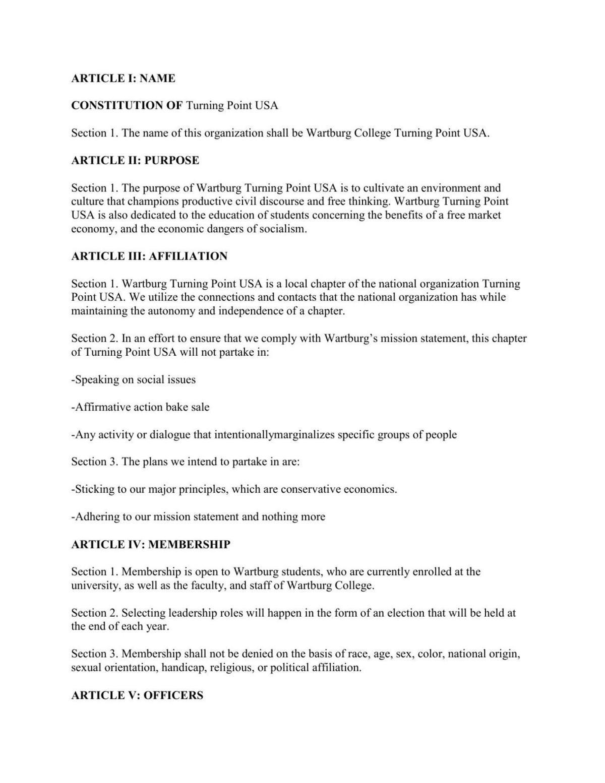 READ: Wartburg Turning Point USA constitution