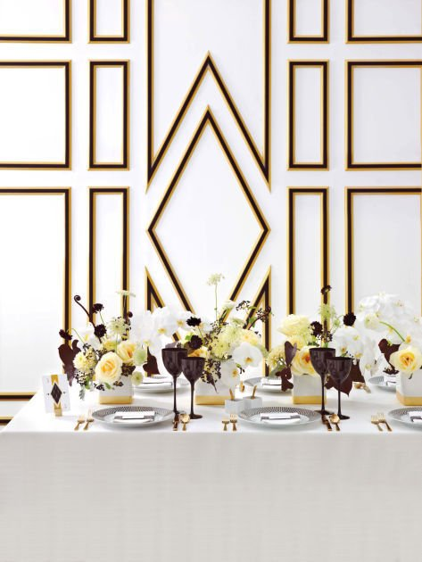 d36ec8525 This photo provided by courtesy of Martha Stewart Weddings shows Art Deco  motifs and colors – black, white and gold – that bring an elegant, vintage  glamour ...