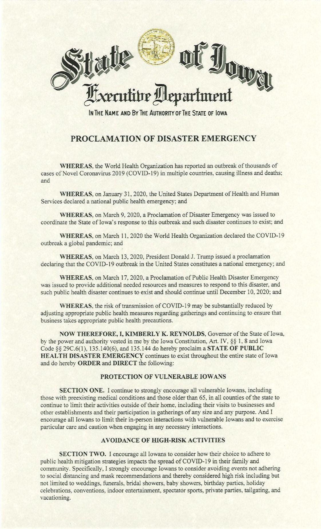 Public Health Proclamation - 2020.11.16