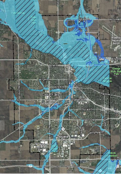 Cedar Falls schedules another flood map meeting | Political ... on map of waterloo iowa mapquest, map of lawton ia, map of sioux city ia, map of wi mn ia,