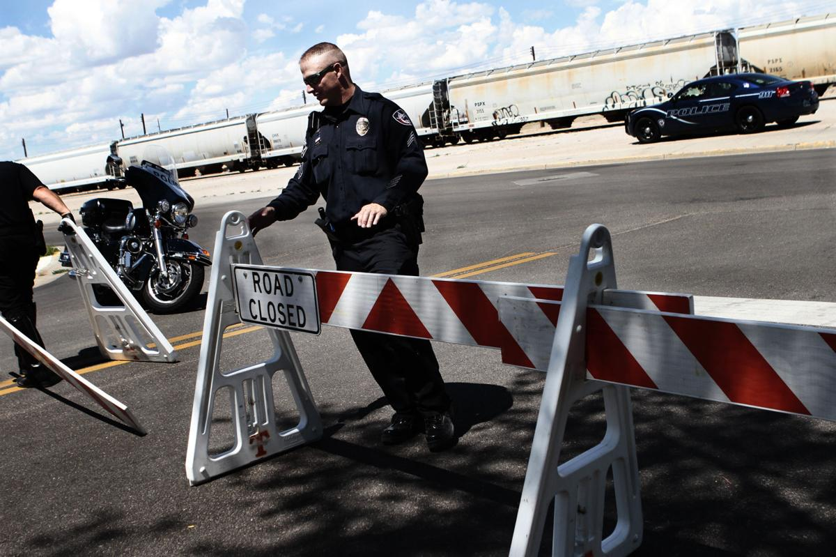 Police barrier downtown