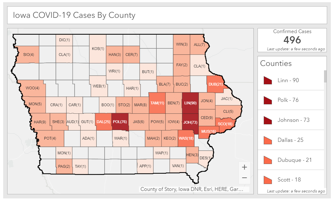 Cases by county in Iowa as of March 31, 2020
