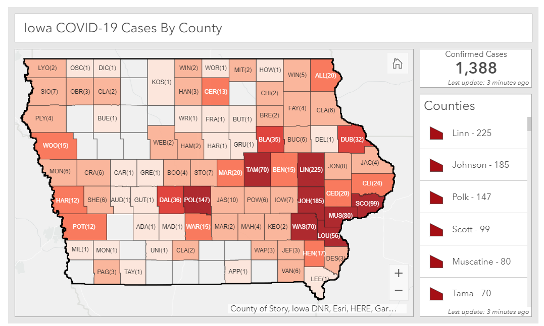 Total coronavirus cases by county as of April 10, 2020, IDPH