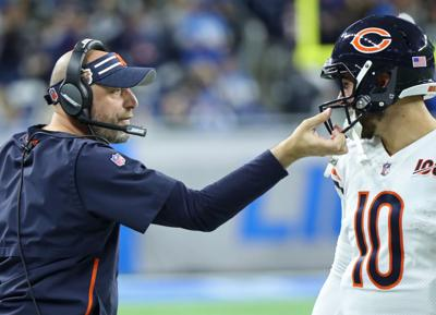 Matt Nagy grabs the face mask of quarterback Mitch Trubisky during the Bears' 24-20 win against the Lions on Thursday, Nov. 28, 2019 at Ford Field in Detroit, Mich. Trubisky underwent surgery shortly after the season to repair a partially torn labrum in his left shoulder.