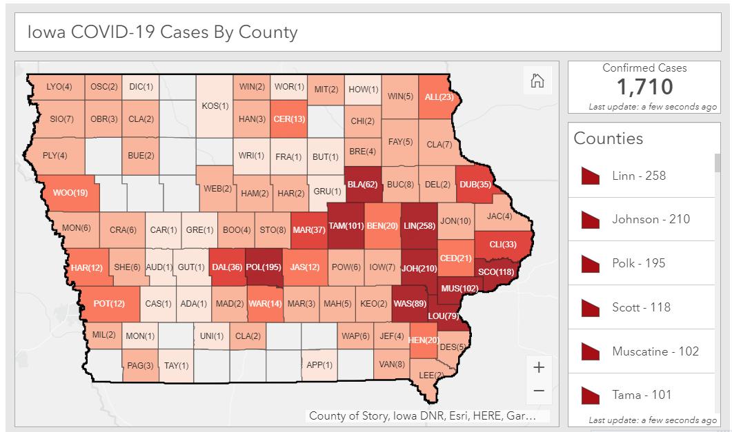 Total coronavirus cases in Iowa as of April 13, 2020