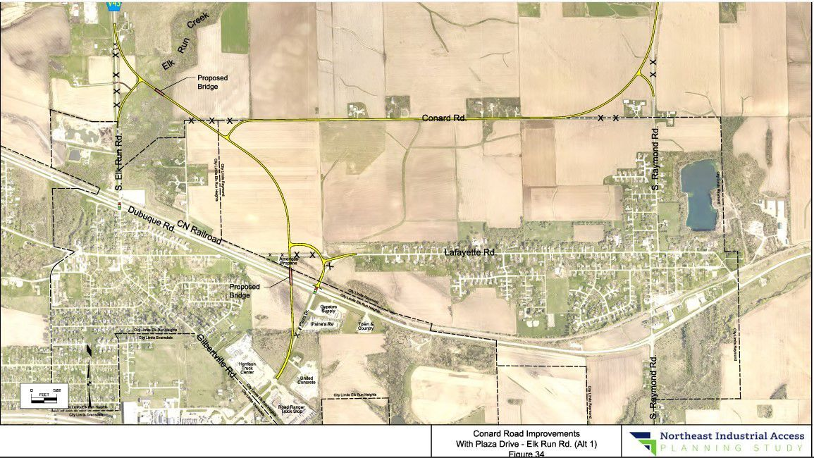 Proposed rendering of possible Northeast Industrial Area access road - INRCOG