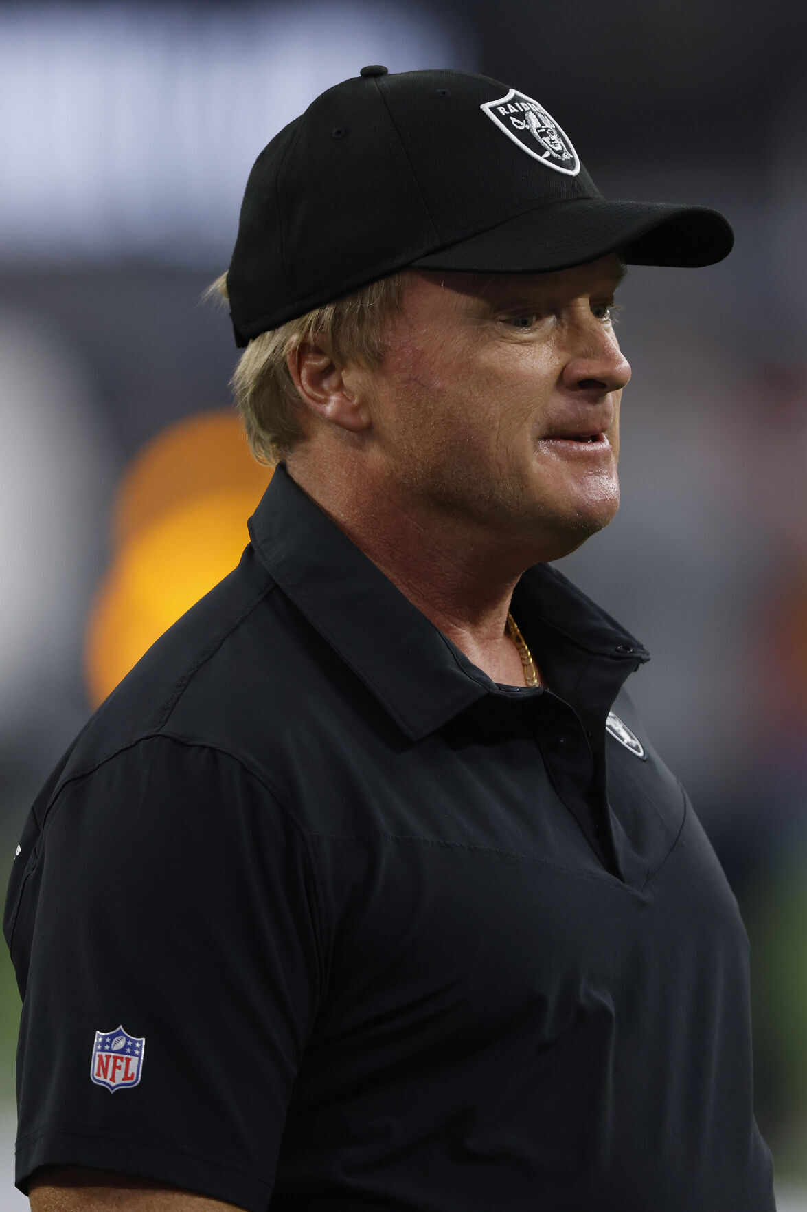 In this file photo, Las Vegas Raiders head coach Jon Gruden looks on before the start of play against the Los Angeles Chargers at SoFi Stadium on Oct. 4, 2021, in Inglewood, California.