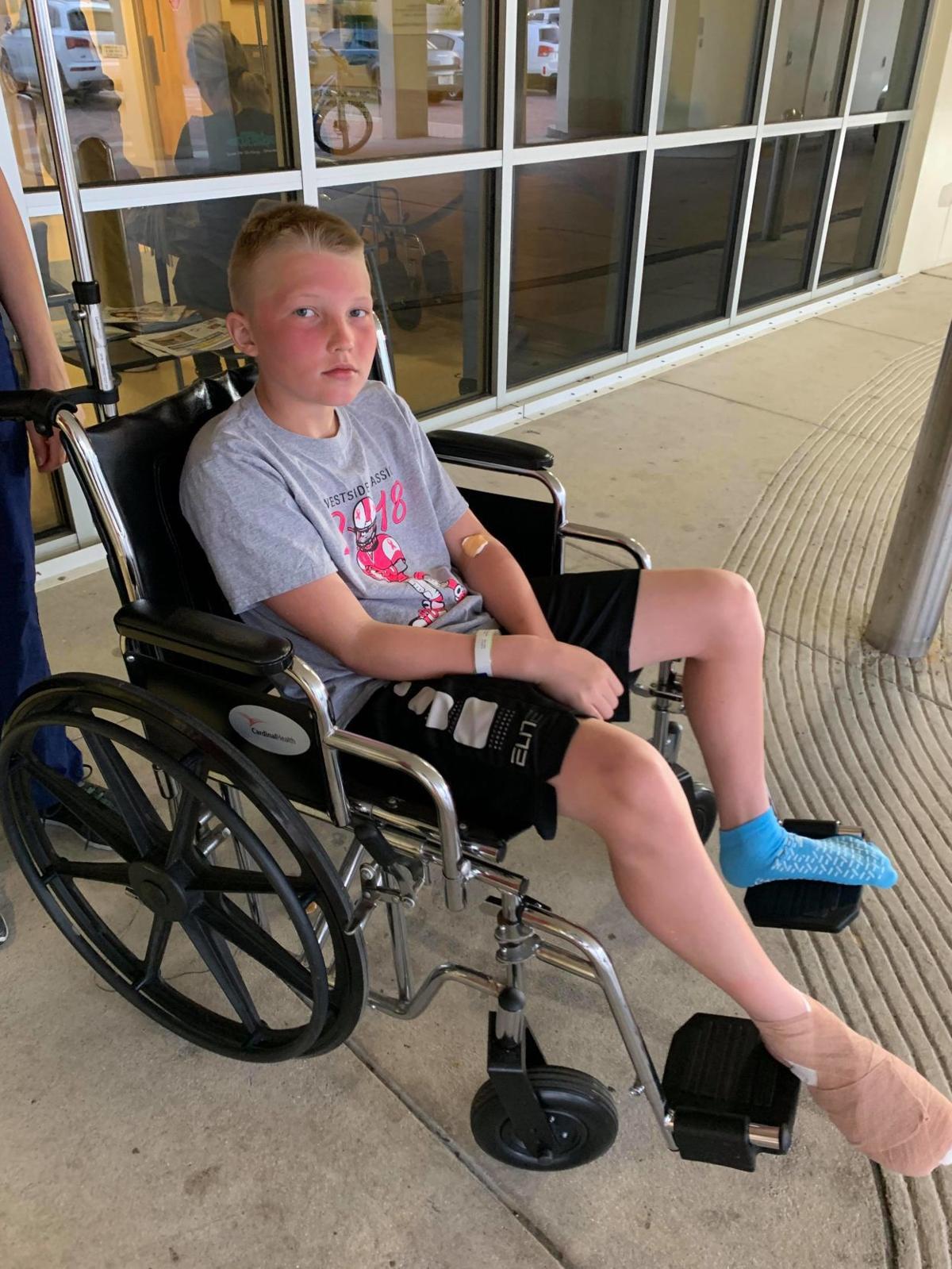 Kael Dewey, 11, after a Florida shark attack