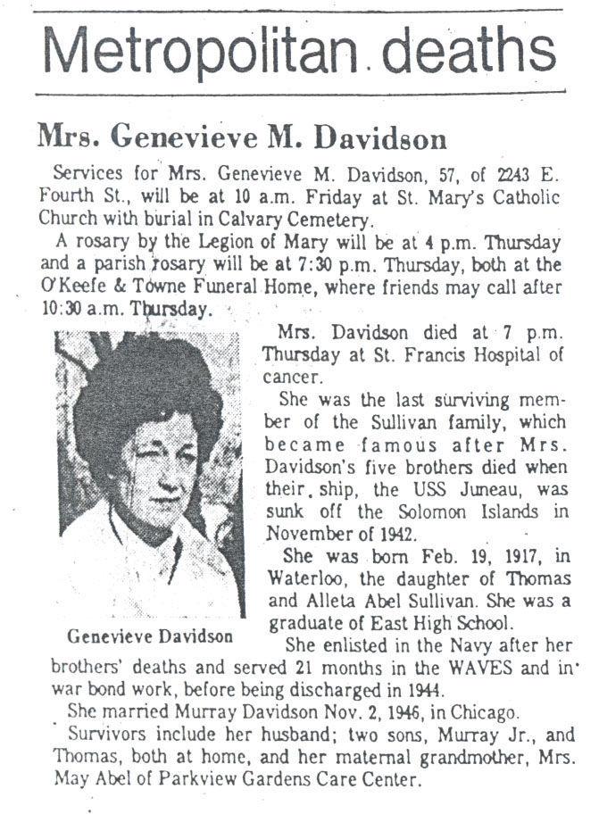 Genevieve Davidson obituary