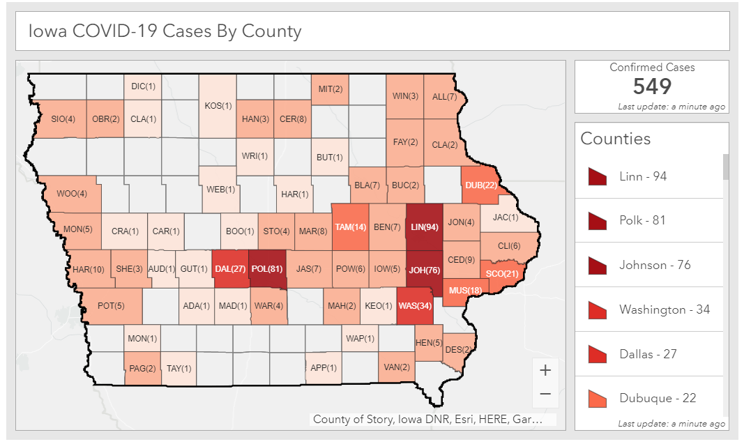 Total coronavirus cases in Iowa as of April 1, 2020