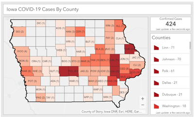 Cases by county in Iowa, March 30, 2020