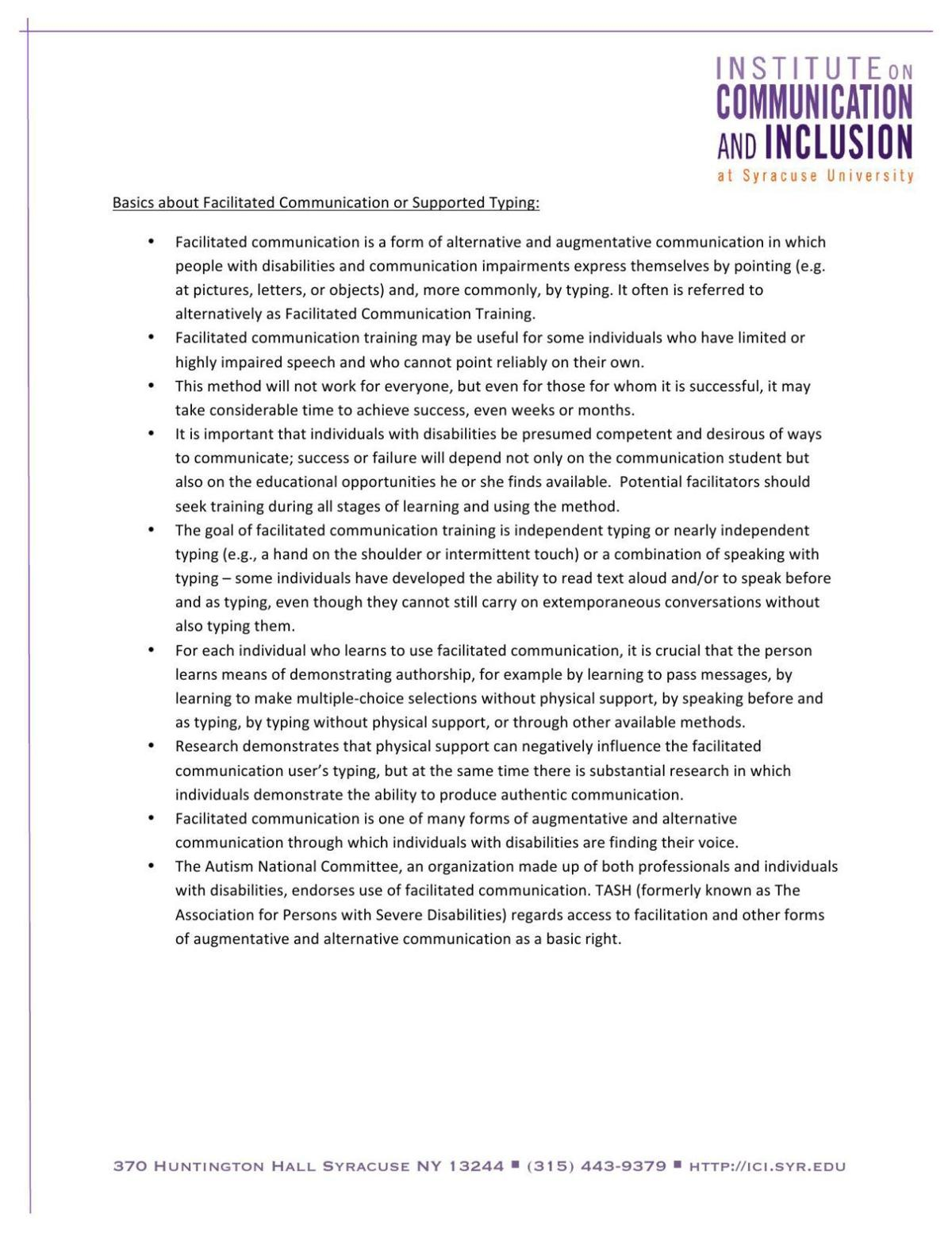 PDF: Facilitated Communication/Supported Typing