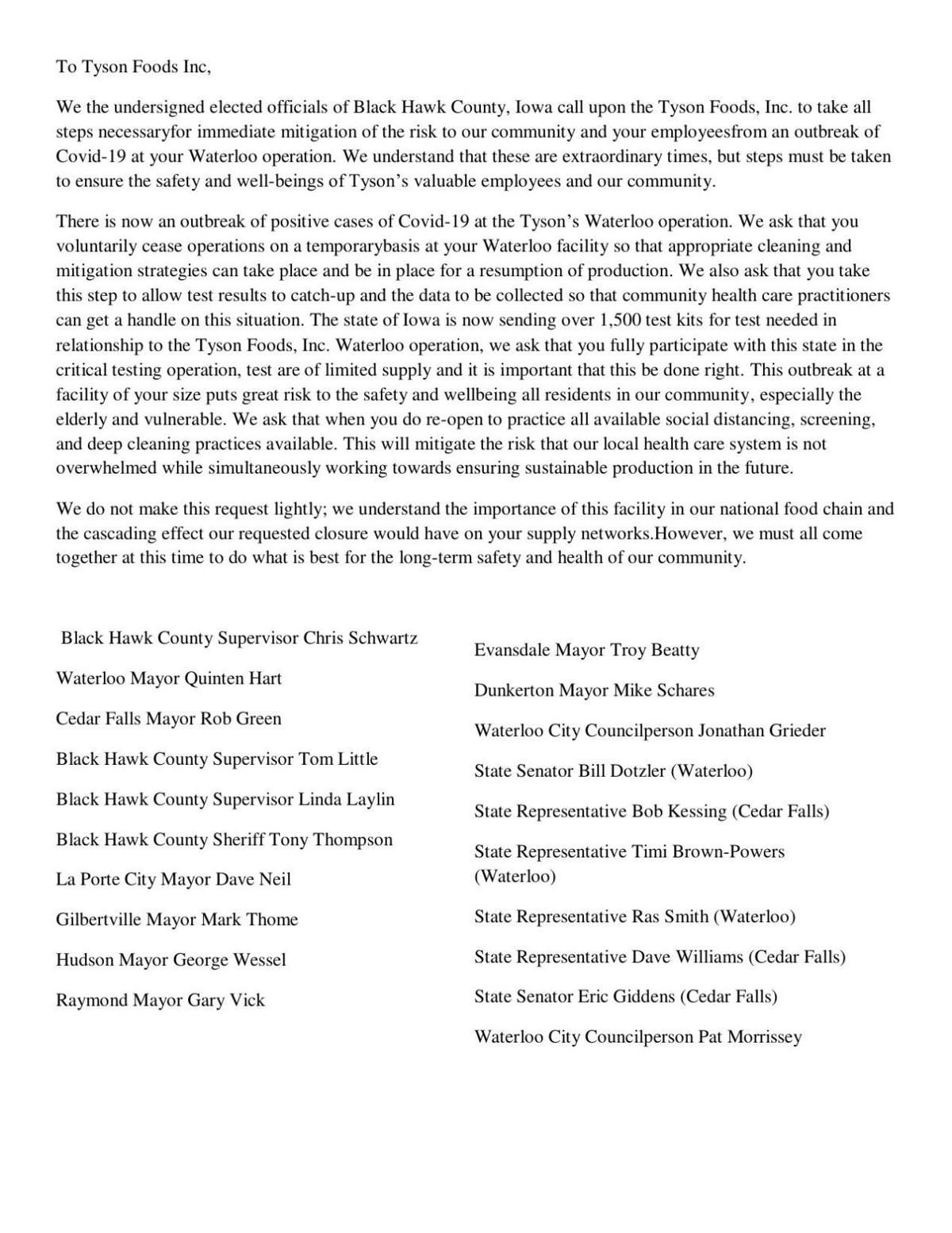 READ: The letter to Tyson from 20 Black Hawk County elected officials