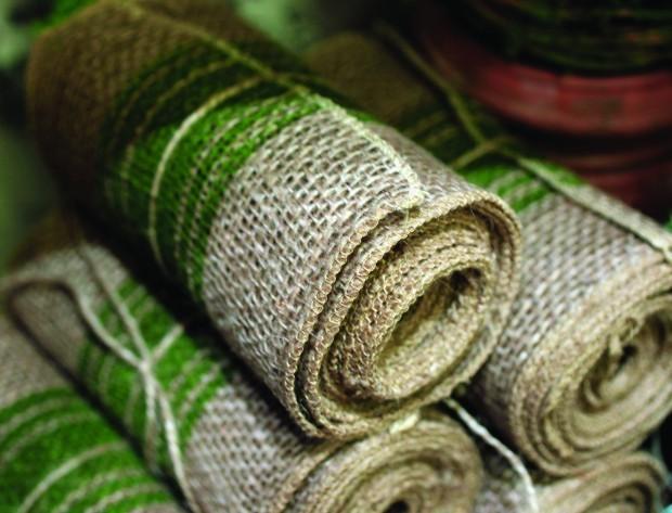 Burlap ribbon rolls