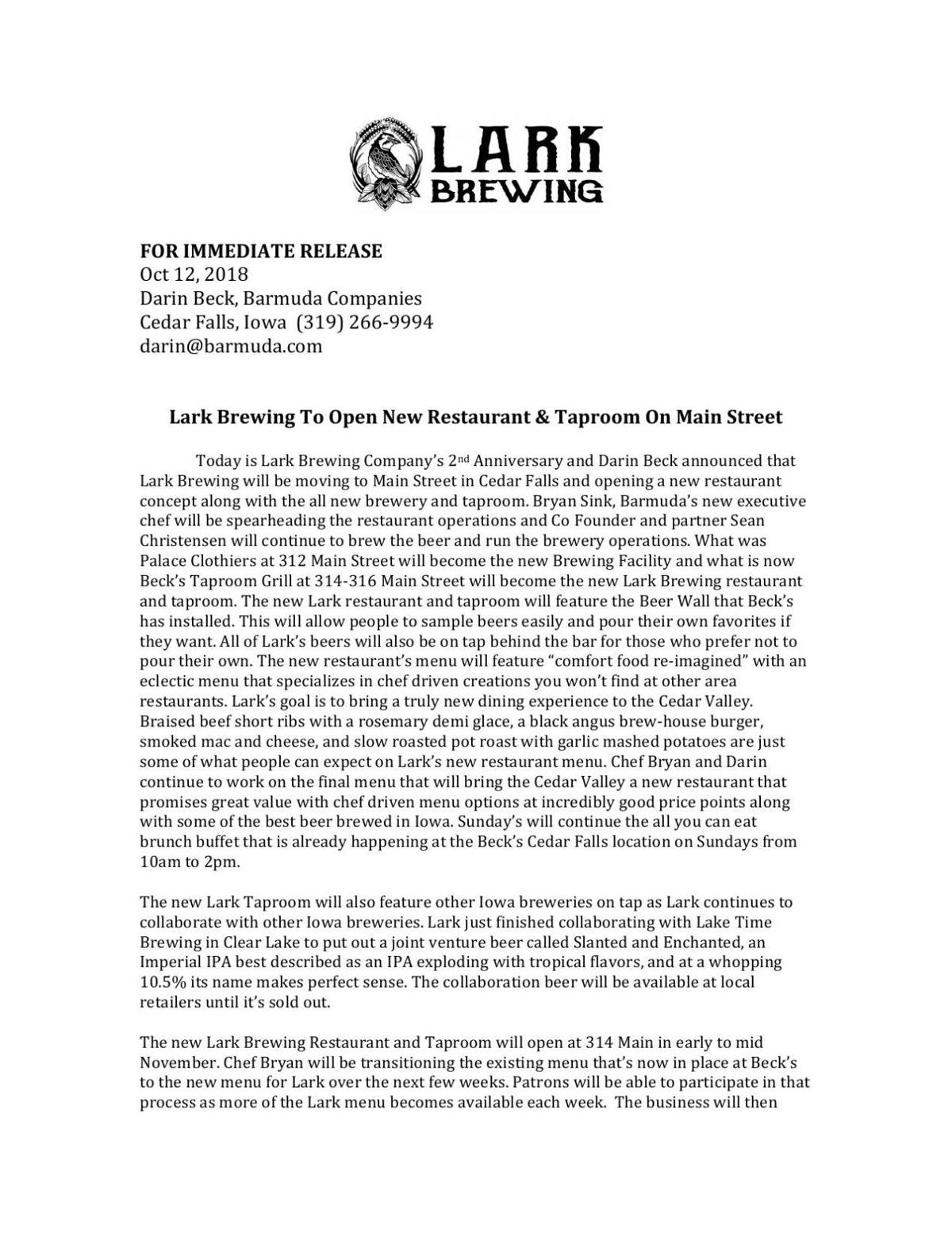 Lark Brewing press release from Darin Beck