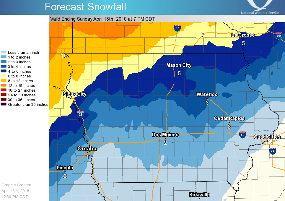 Forecast Snow Amounts for April 13-15, 2018