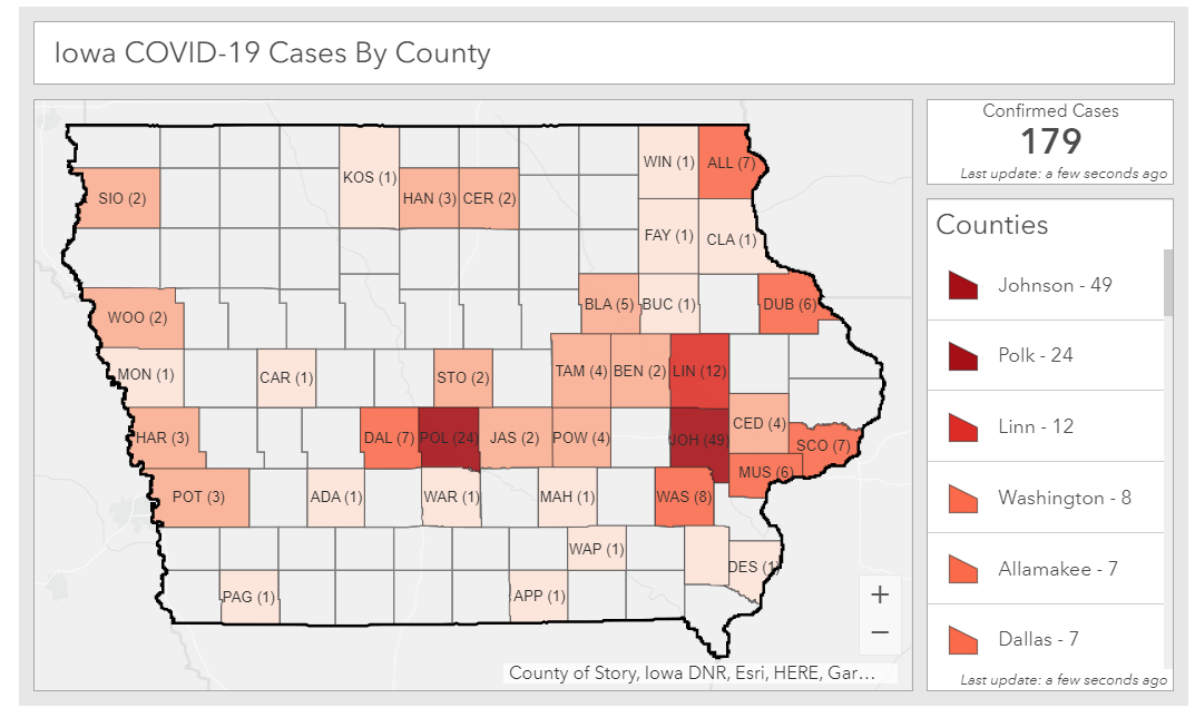 Map of coronavirus cases in Iowa as of March 26, 2020