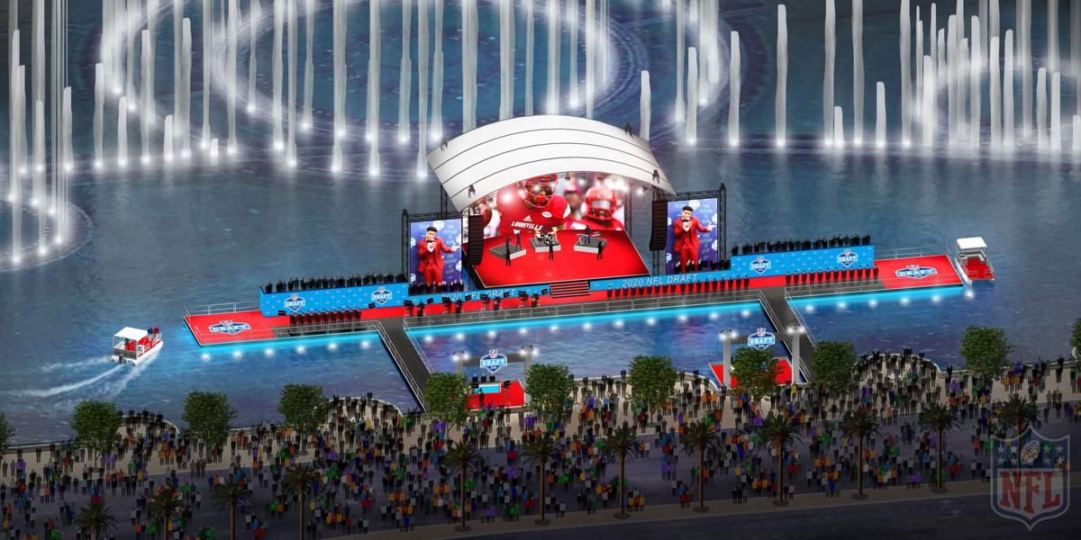 An artist rendering of the 2020 NFL Draft stage in Las Vegas on the lake in front of the Bellagio Hotel with boats ferrying players and VIPs. The league announced Monday the draft would go on, but without events open to the public.
