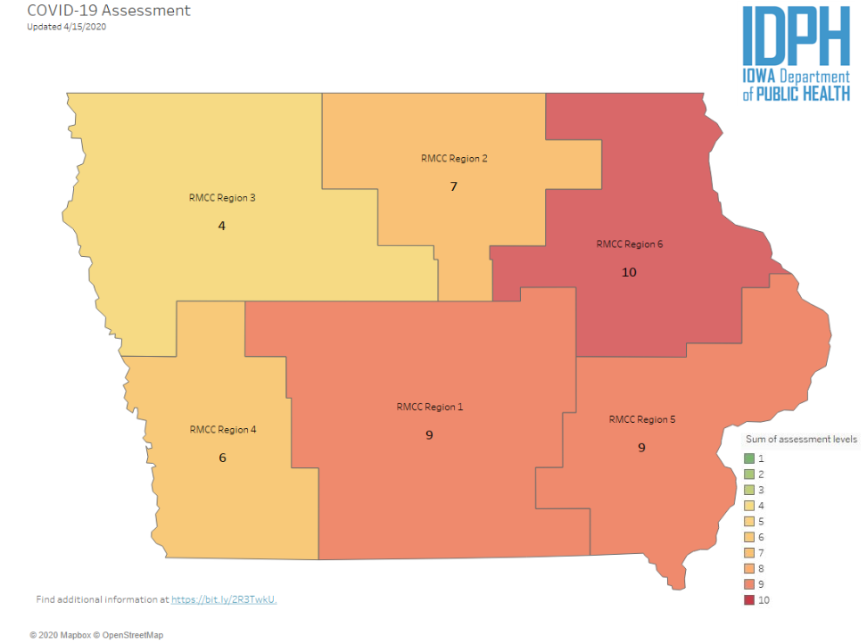 Regional assessment scores, April 16, 2020