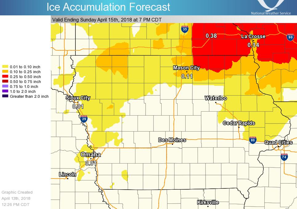 Forecast Ice Amounts, April 13-15, 2018