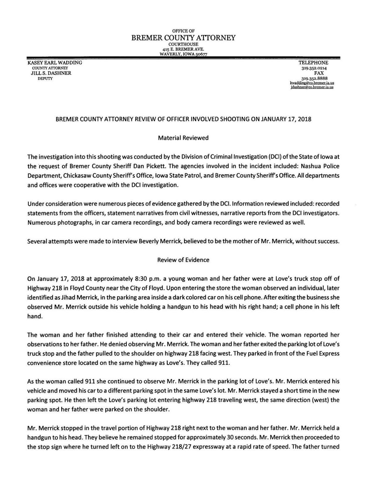 PDF: Read the Bremer County Attorney's findings