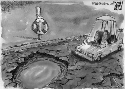 Pothole depth B