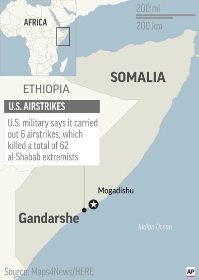 Gandarshe, Somalia map, US airstrikes
