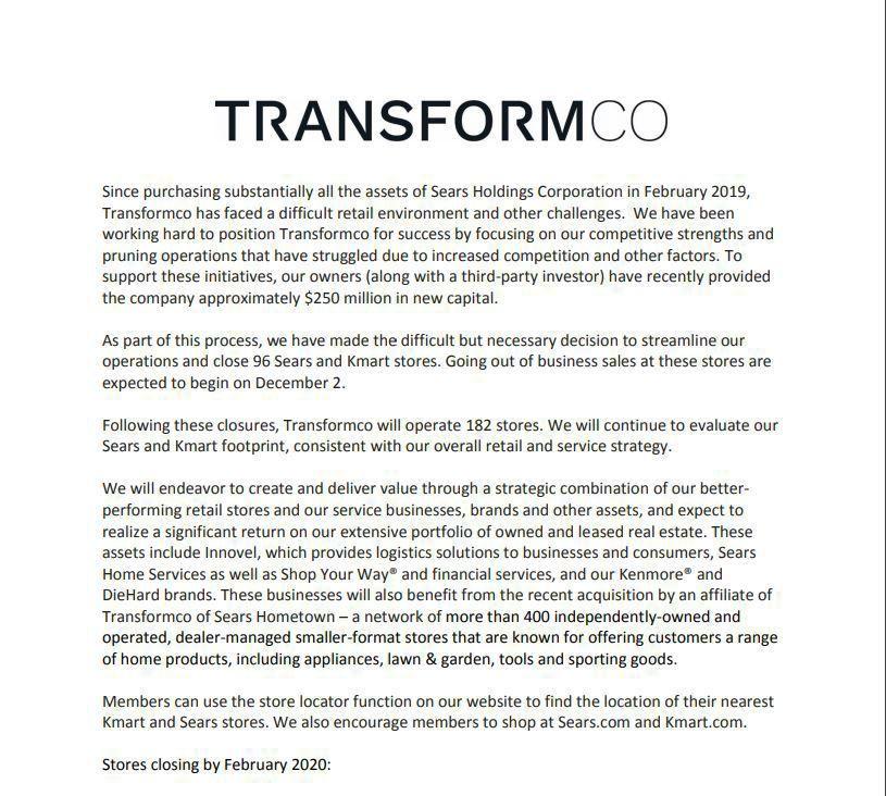 Transformco statement