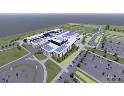Artist rendering of solar panels on new Cedar Falls High School