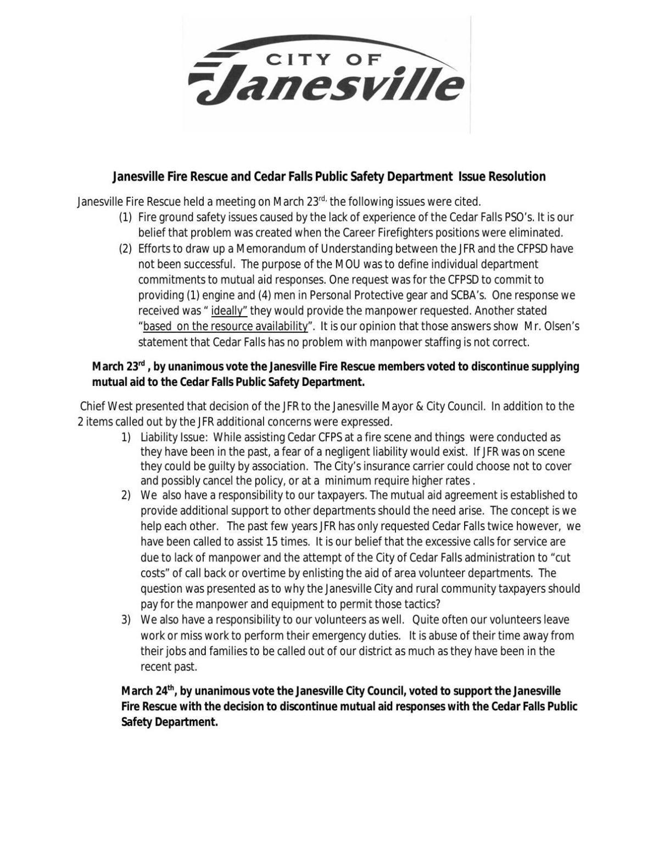Janesville's Cedar Falls fire mutual aid decision