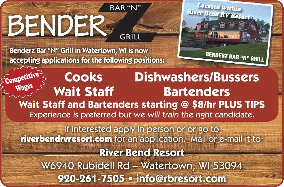 "River Bend Resort BAR ""N"" Z Grill Help wanted"
