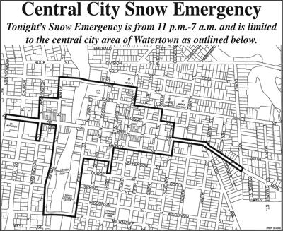 Snow emergency declared for central city of Watertown