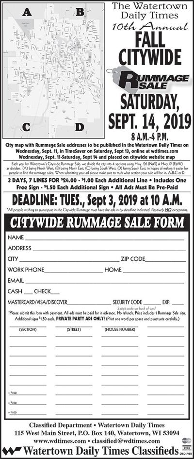 Fall Citywide Rummage Sale September 14, 2019 | Citywide