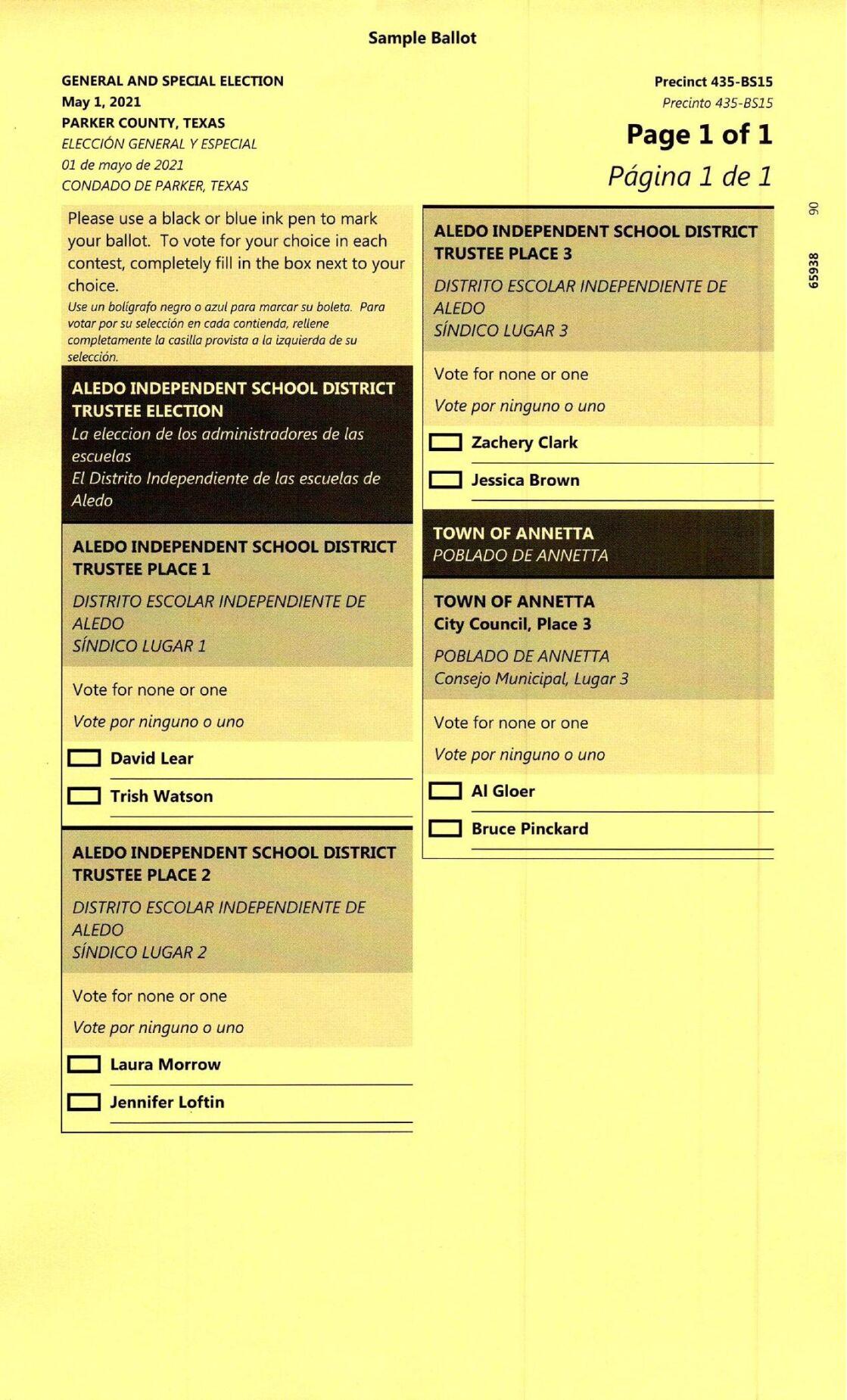 Parker County sample ballots