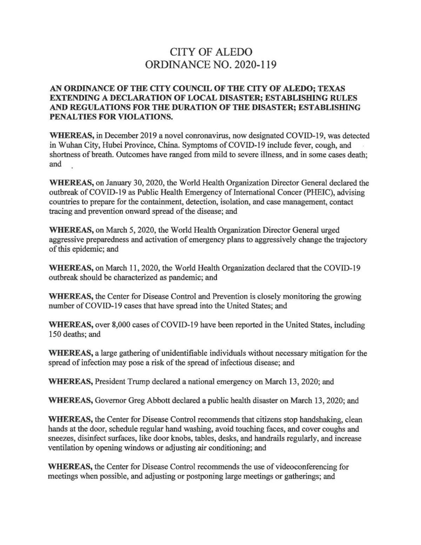 Aledo Disaster Declaration